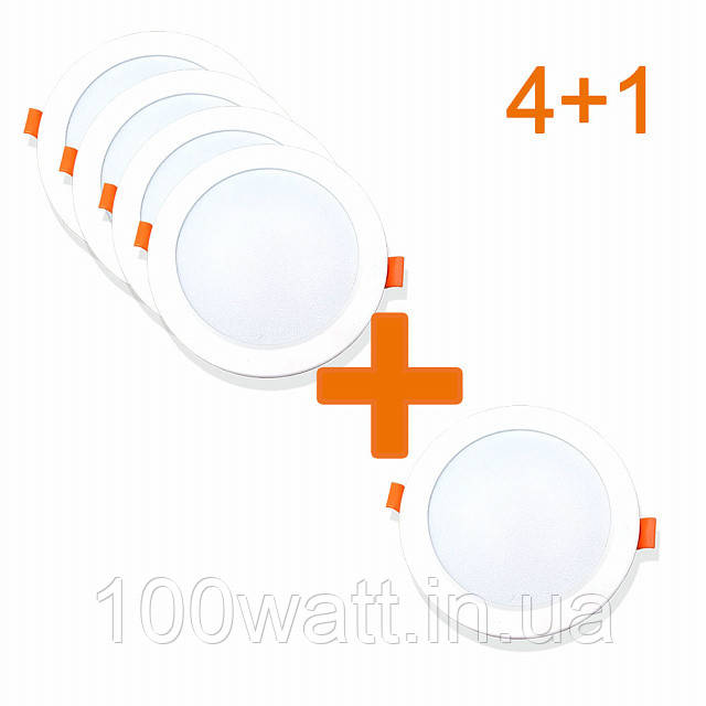 Набор из 4+1 светильников точечных врезных EVROLIGHT 12Вт круг PLAIN-12R 4200К