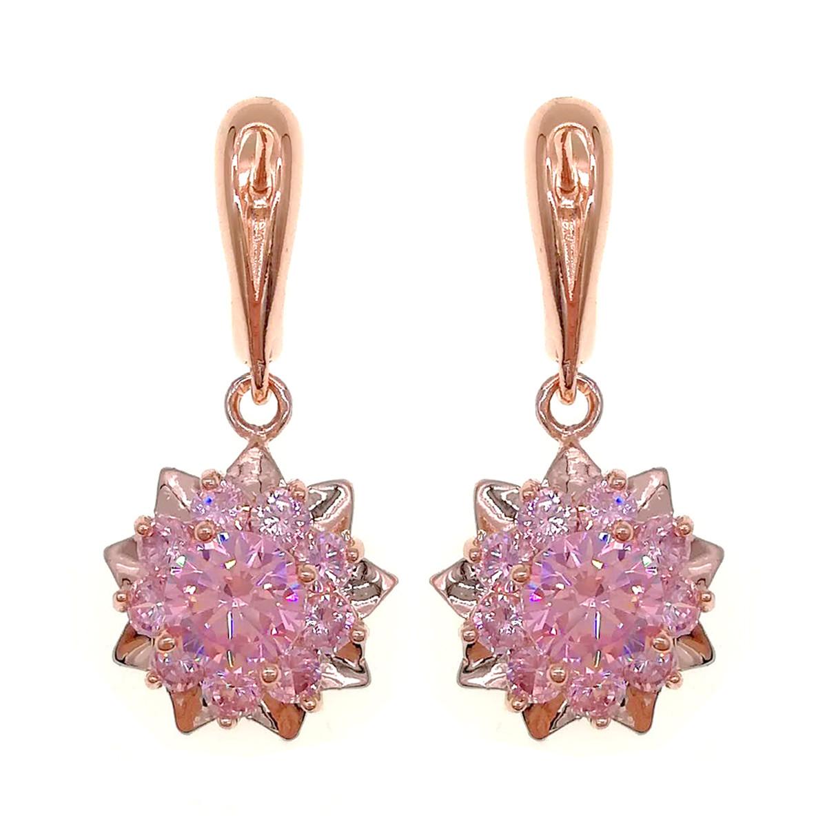 Серьги SONATA из медицинского золота, розовые фианиты, позолота PO, 23068       (1)