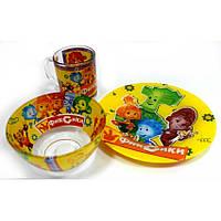 Подарунковий набір дитячого посуду зі скла Фіксики
