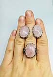 Серебряный гарнитур с розовым кварцем Лукошко, фото 5