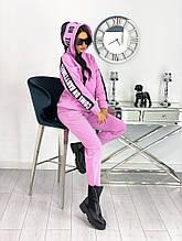 Женский стильный тёплый  на флисе спортивный костюм с капюшоном норма батал