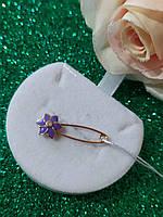 Золота шпилька квітка з емаллю