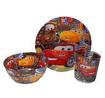 Подарунковий набір дитячого посуду зі скла Тачки для хлопчиків
