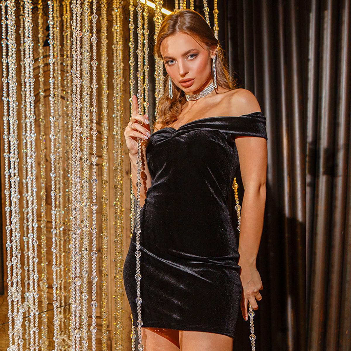 """Велюровое черное платье короткое коктейльное """"ODRI"""""""