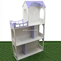 Игрушечный кукольный деревянный домик Unitywood (62х20х105 см), трехэтажный фиолетовый, фото 1