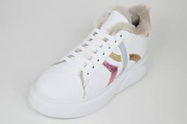 Кроссовки белые c мехом Lottini 392037 кожа 36