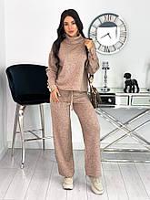 Женский теплый стильный костюм из двухсторонней ангоры серый, лиловый, кофе 42-44, 46-48