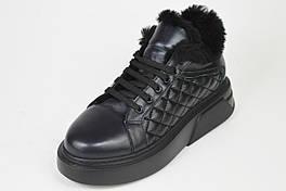 Кроссовки с мехом Lottini 2029 38 Черные кожа