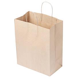 Бумажный пакет с кручеными ручками 260*150*350 бурый