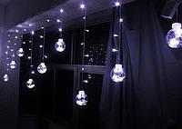Гирлянда Штора ' 400 лампочек Штора, 20 шариков 8 см, ширина 6 метров,220v', Белый