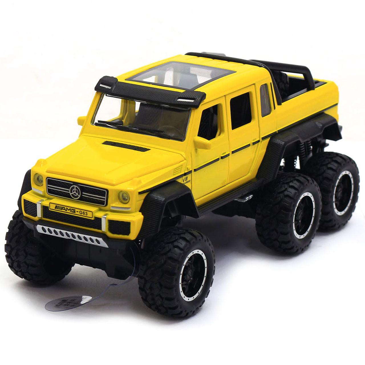Машинка ігрова Автопром «Mercedes-Benz G63» Мерседес-Бенц Жовтий зі світловими і звуковими ефектами (7692)