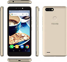 """Смартфон Tecno POP 2F 5,5"""" 1/16Gb с разблокировкой по лицу и сканером отпечатков пальцев золотистый"""