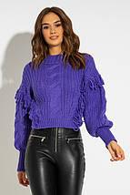 Укороченный свитер крупной вязки с бахрамой 42-44  PF-4697-02, фото 2