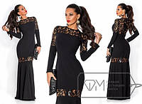 Нарядное черное длинное платье