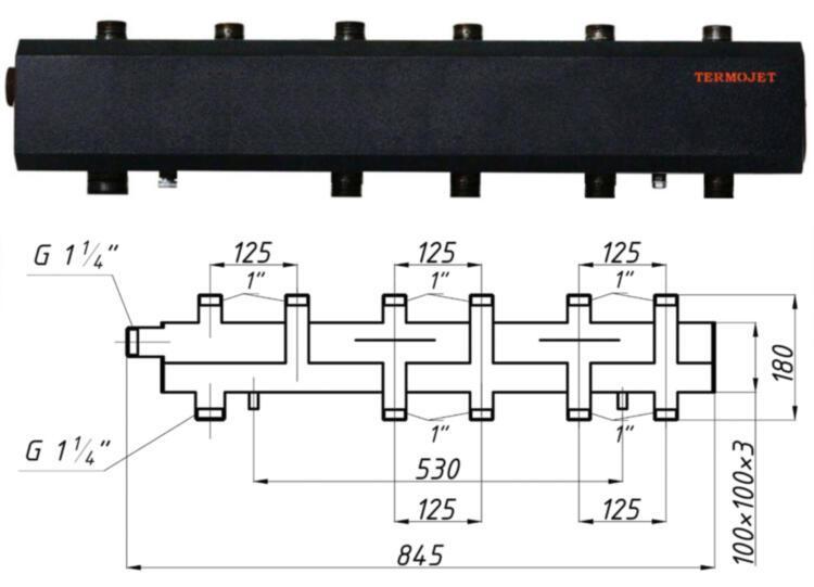 Коллектор однобалочный TERMOJET СК-392.125 в изоляции
