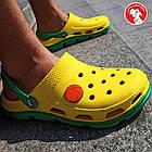 Яркие украинские женские и мужские кроксы-сабо от из пены; желтые с зеленым., фото 9