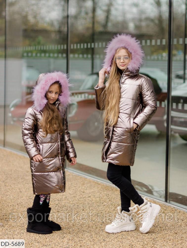 Зимняя длинная детская куртка пуховик