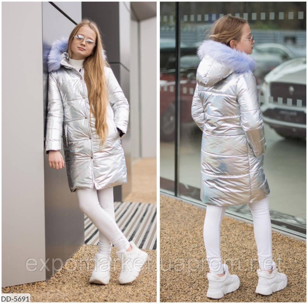 Пальто пуховик для девочки с капюшоном
