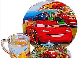 Подарунковий набір дитячого посуду зі скла Cars для хлопчиків