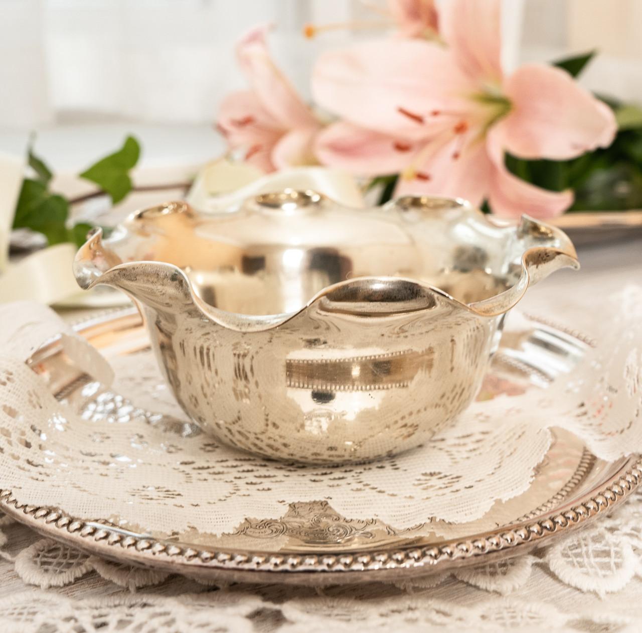 Посеребренная вазочка с ажурным краем, серебрение, E.P.N.S., Англия, J. POTTER