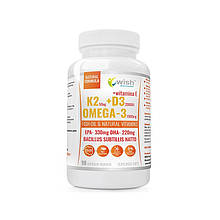 Вітаміни Vitamin K2 MK-7 + D3 50mcg 2000IU + OMEGA-3 Vit E 90 caps, Wish