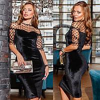 """Велюрову сукню чорне ошатне """"AVONA"""", фото 1"""