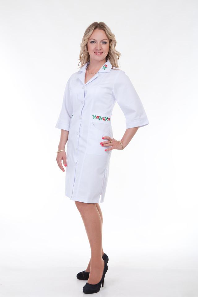 Халат белый медицинский  с вышивкой