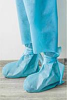 Бахилы защитные на завязках голубые - 03601