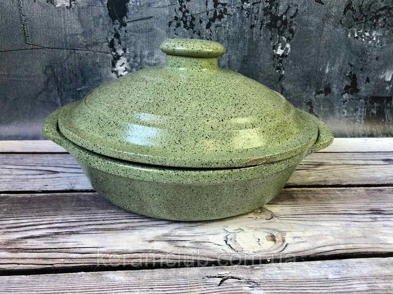 Сковорода V 1,5 л с ручками и гранитным покрытием зеленого цвета