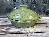 Сковорода V 1,5 л с ручками и гранитным покрытием зеленого цвета, фото 1