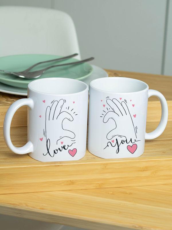 """Парные белые чашки (кружки) с принтом """"Love you"""""""