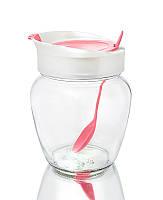 Банка стеклянная 550 мл для хранения сыпучих продуктов с розовой пластиковой крышкой и ложкой Everglass