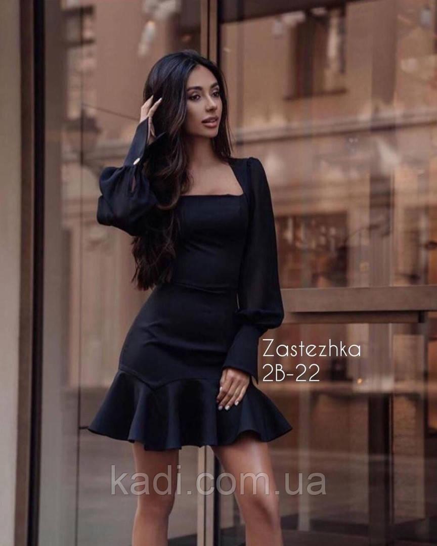 Платье мини с воланом / арт.1196