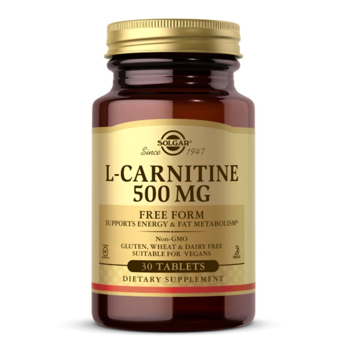 L-Карнитин, 500 мг, L-Carnitine, Solgar, 30 таблеток
