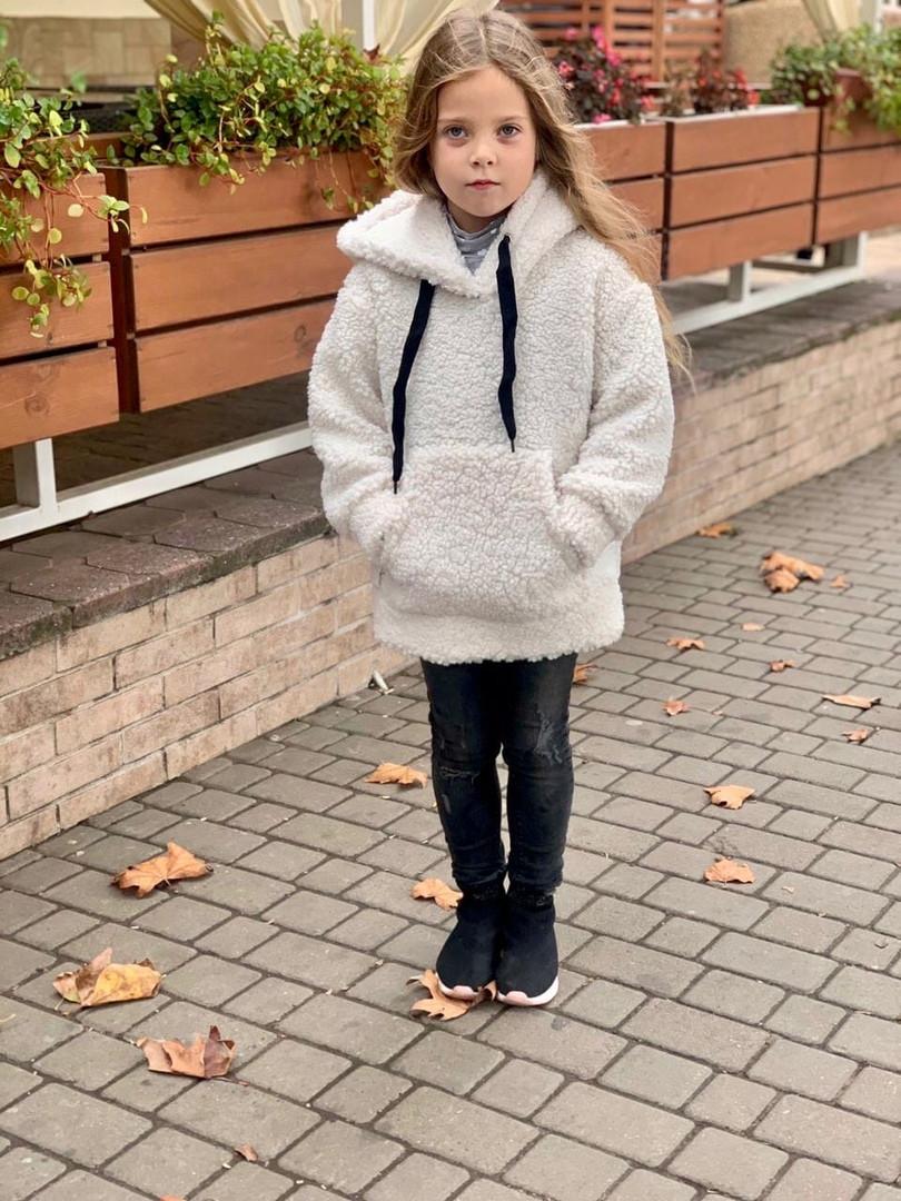 Детский теплый меховой худи кофта с капюшоном батник размер: 116, 122, 128