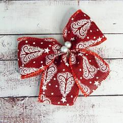 Бант рождественский красный (уп 5шт)