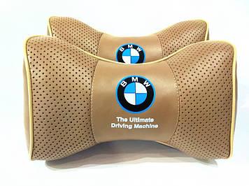 Подарок в машину с логотипом BMW Подушка на подголовник в авто с наполнителем холлофайбер