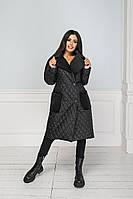 Стильная удлиненная куртка стеганная норма женская Aurelia черный/розовый 42-44, 46-48