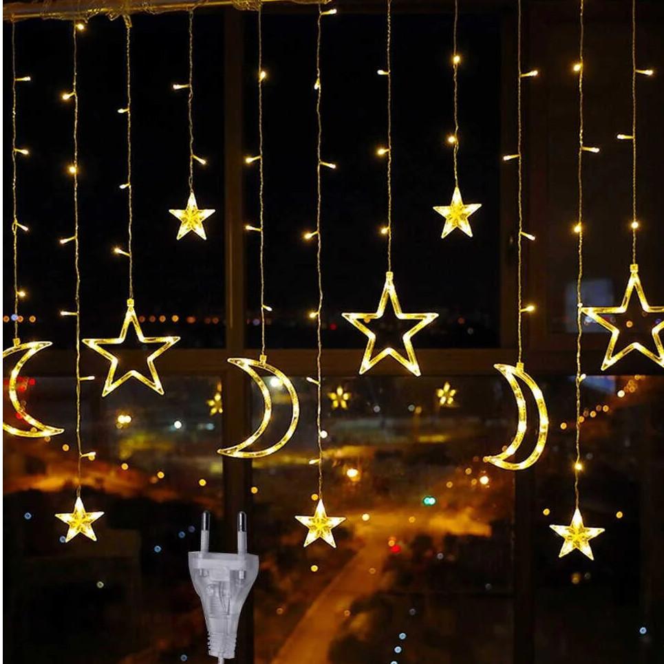 Гирлянда штора звезды и месяц с пультом
