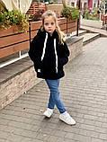 Детский теплый меховой худи кофта с капюшоном батник размер: 116, 122, 128, фото 5