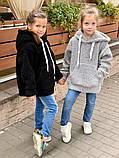 Детский теплый меховой худи кофта с капюшоном батник размер: 116, 122, 128, фото 3