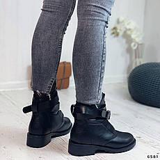 Черевики жіночі чорні, зимові з еко шкіри. Черевики жіночі теплі чорні з еко шкіри, фото 2