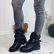 Черевики жіночі чорні, зимові з еко шкіри. Черевики жіночі теплі чорні з еко шкіри, фото 3
