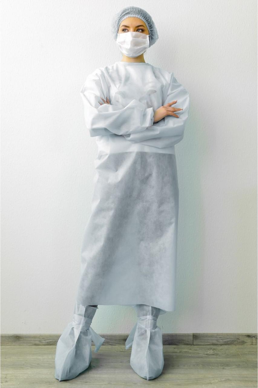 Халат одноразовый длинный нестерильный белый - 03602