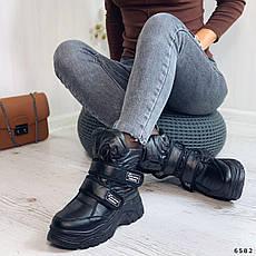 Дутики жіночі зимові, чорного кольору з плащової тканини. Черевики дутики жіночі на платформі, фото 2