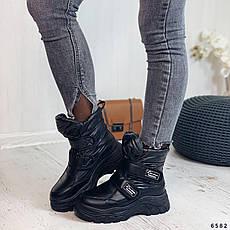Дутики жіночі зимові, чорного кольору з плащової тканини. Черевики дутики жіночі на платформі, фото 3