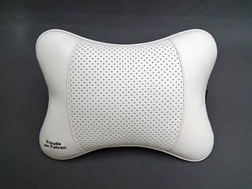 Подушка на подголовник Freude am Fahren белая Кожаная подушка для машины под шею Автомобильная подушка