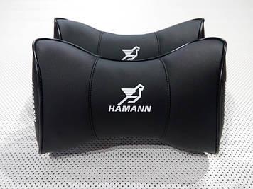 Подушка в автомобиль на подголовник Hamann черная Подушка на подголовник в авто под голову и шею
