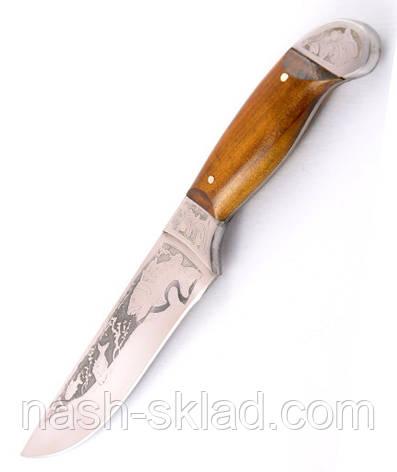 Нож охотничий ручной работы Осетр с кожаным чехлом + эксклюзивные фото, фото 2