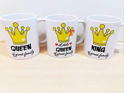 """Семейные белые чашки (кружки) с принтом """"Королевская семья"""""""